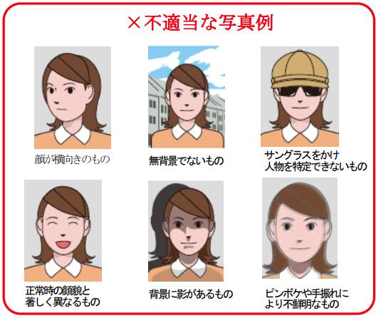 顔が横向きのもの無背景でないものサングラスをかけ人物を特定できないもの正常時の顔貌と著しく異なるもの背景に影があるものピンボケや手振れにより不鮮明なもの